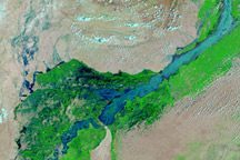 Earth Observatory NASA Lower Indus River flooding August 12, 2010