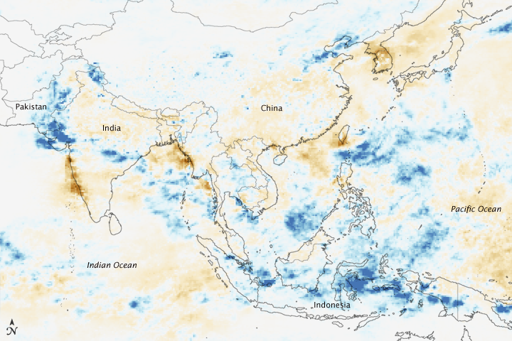 world map asia on left. NASA#39;s Earth Observatory Asia